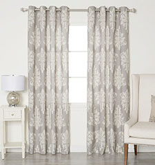 Blindsgalore Allure Drapery Pair: Damask Print Linen Blend