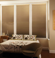 "CrystalPleat® 3/8"" Double Cell Cellular Shade: Cocoon shown in color Twine"