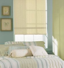 Bali® Roller Shades: Manhattan Light Filtering shown in Muslin