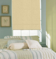 Bali® Roller Shades: Manhattan Room Darkening shown in Muslin