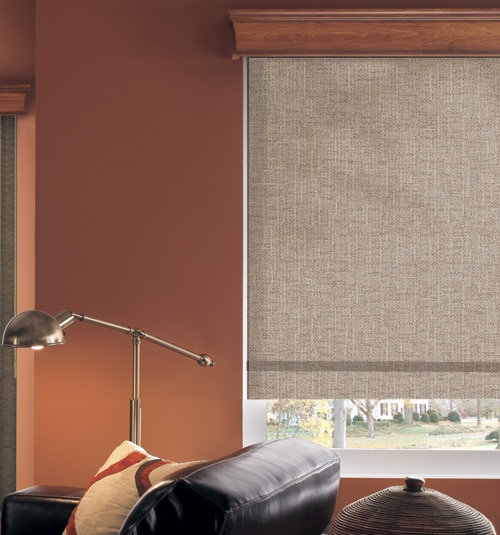 Bali® Fiddlestix roller shade shown in color Pewter