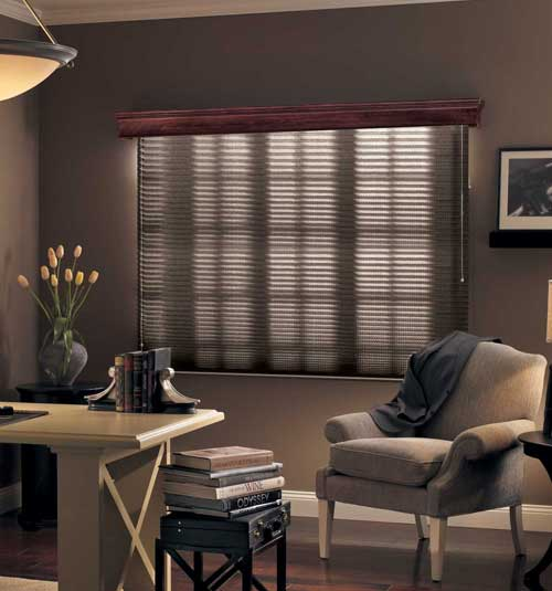 Bali® Neat Pleat® Pleated Shades: Stripe in Dark Khaki