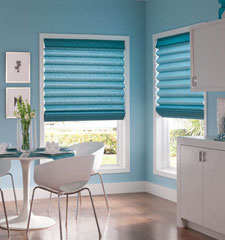 Teardrop Fold Roman Shade in Verdant Sea Glass with fabric valance