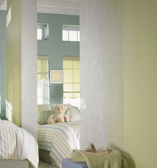 Sliding Panel with Manhattan Light Filtering in Leisure Green and Blossom in White