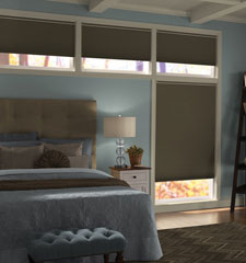 "Comfortex® 3/4"" Single Honeycomb Cellular Shades: Baritone Blackout shown in Pinecone"