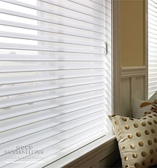"Good Housekeeping Sheer Shadings: 2"" Light Filtering shown in Wedding Gown"