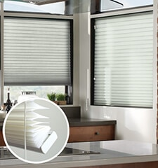 Blindsgalore Pleated Light filtering shade shown in color Sea Salt