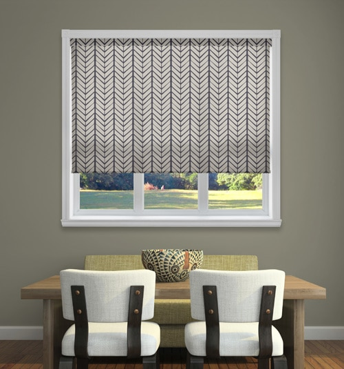Dwell Roller Shades shown in Native Chevron: Slate