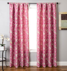 Blindsgalore Signature Drapery Panel: Mod Vine in Flamingo Pink